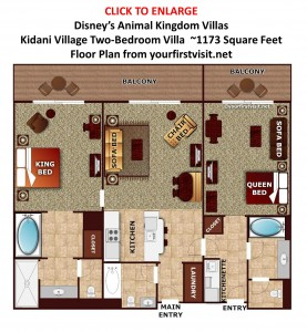 Disney's Kidani Village Two-Bedroom Villa floor plan from yourfirstvisit.net