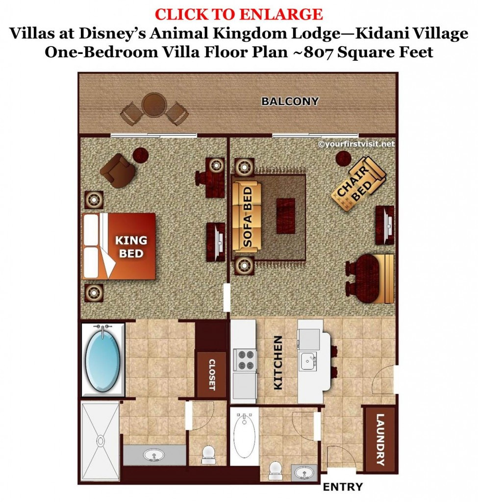 Sleeping space options and bed types at walt disney world for Villa floor plans