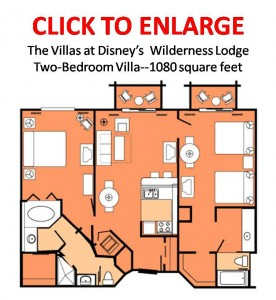The Villas at Disney's Wilderness Lodge Two-Bedroom Villa Floorplan