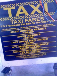 Walt Disney World Airport-Hotel Taxi Rates