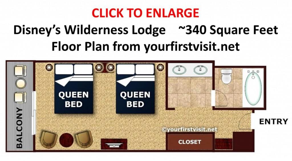 Disney's Wilderness Lodge Standard Room Floor Plan from yourfirstvisit.net