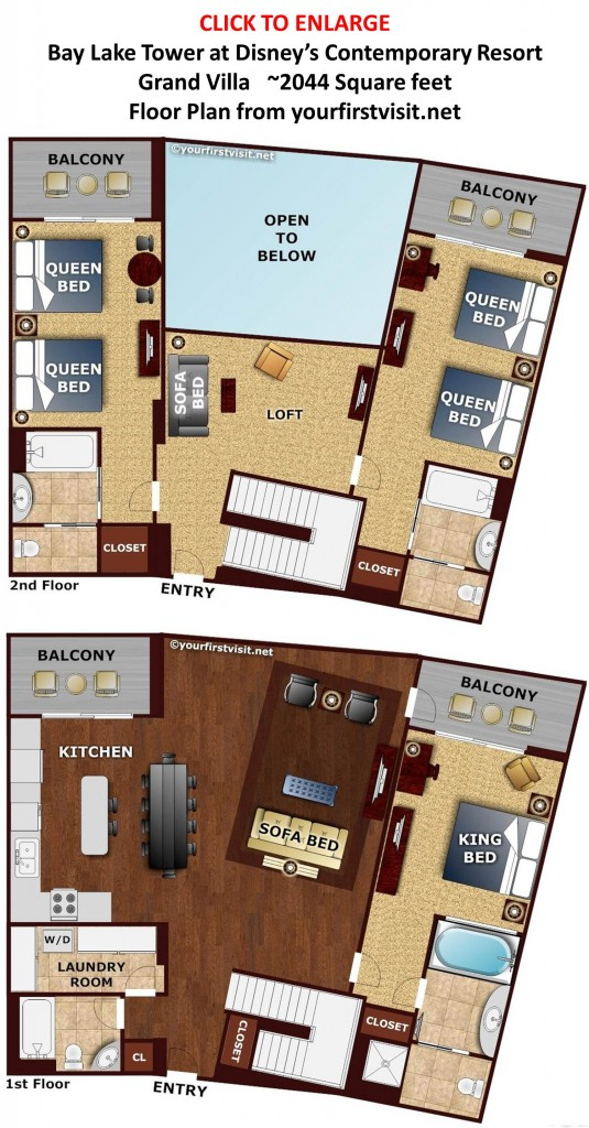Floor Plan Grand Villa Bay Lake Tower from yourfirstvisit.net