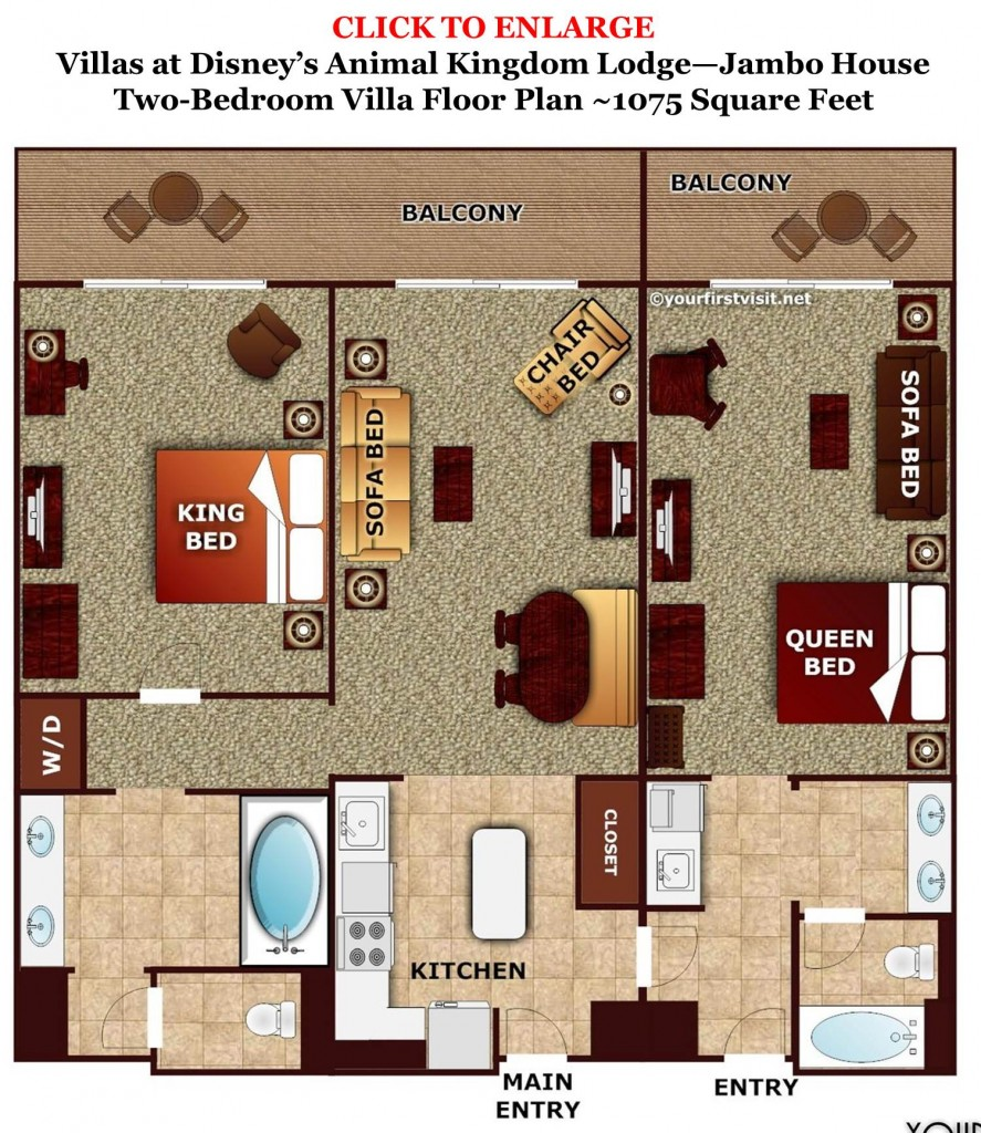 Review disney 39 s animal kingdom villas jambo house page 5 for 2 bedroom villa floor plans