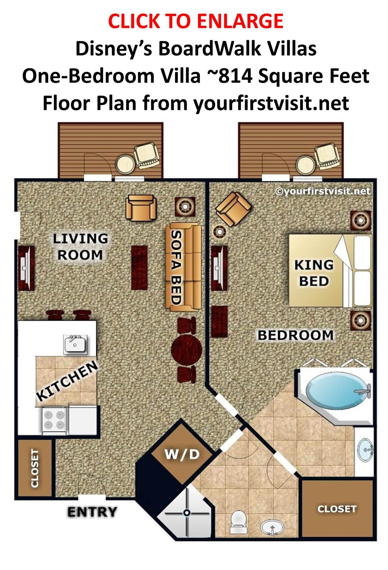 Disney 39 s boardwalk villas one bedroom floor plan from for 1 bedroom floor plan