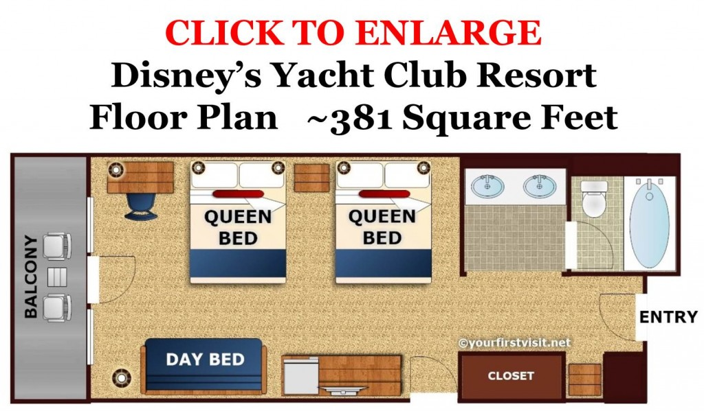 Disney's Yacht Club Floor Plan from yourfirstvisit.net