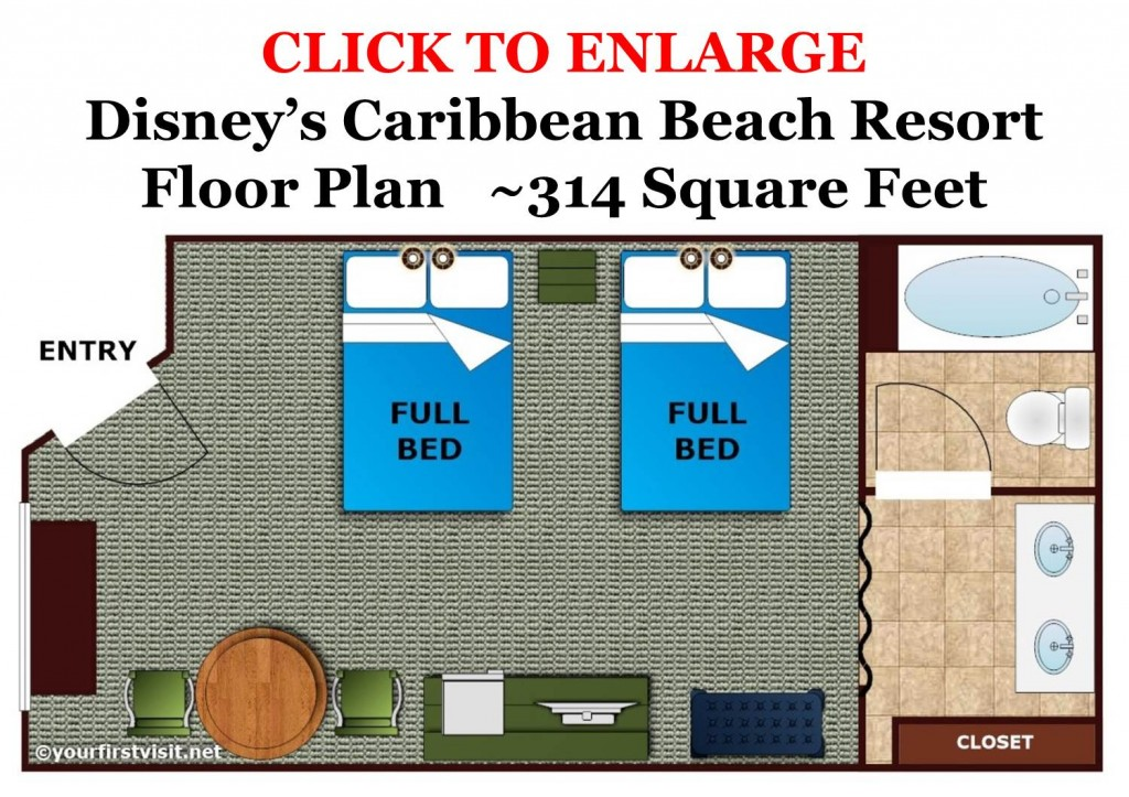 Floor Plan Disney's Caribbean Beach Resort from yourfirstvisit.net