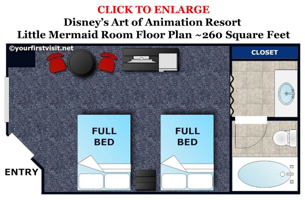 Little Mermaid Room Floor Plan at Disney's Art of Animation Resort from yourfirstvisit.net