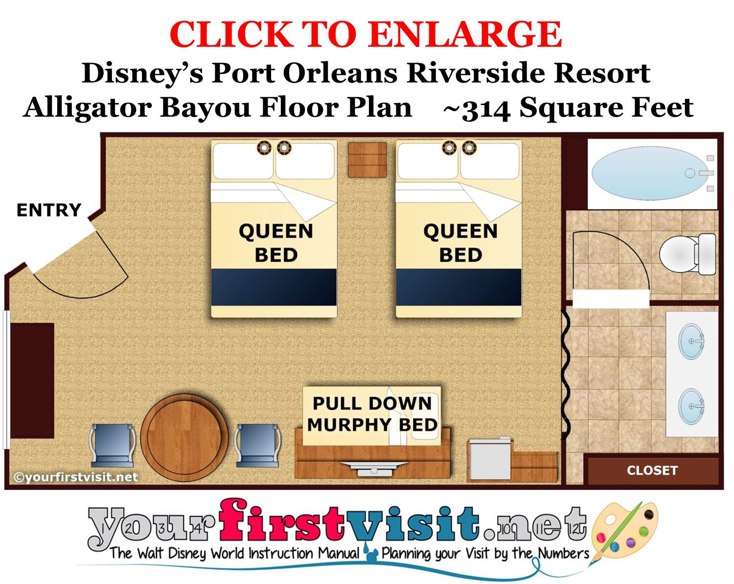 Floor Plan Alligator Bayou 5 Person Room Disney's Port Orleans Riverside Resort from yourfirstvisit.net