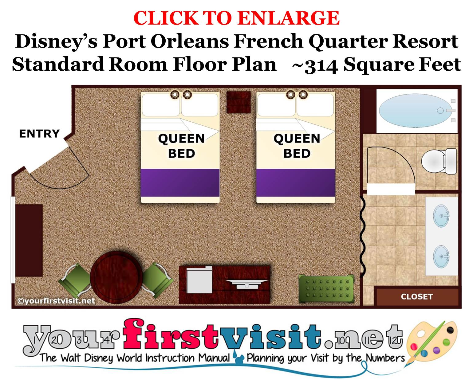 Floor Plan Standard Room Disney's Port Orleans French Quarter Resort from yourfirstvisit.net