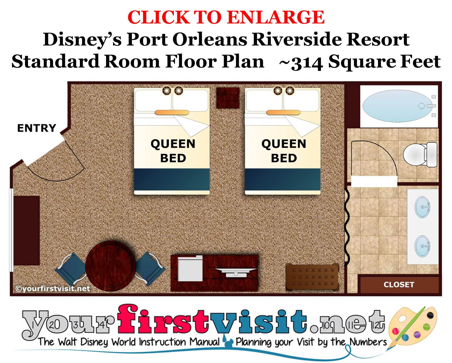 Floor Plan Standard Room Disney's Port Orleans Riverside Resort from yourfirstvisit.net