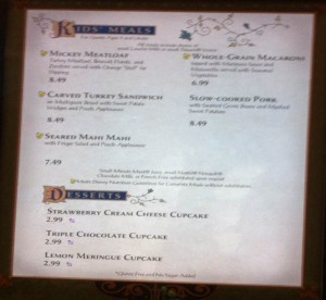 Kid's Menu at Be Our Guest Restaurant at the Magic Kingdom v2