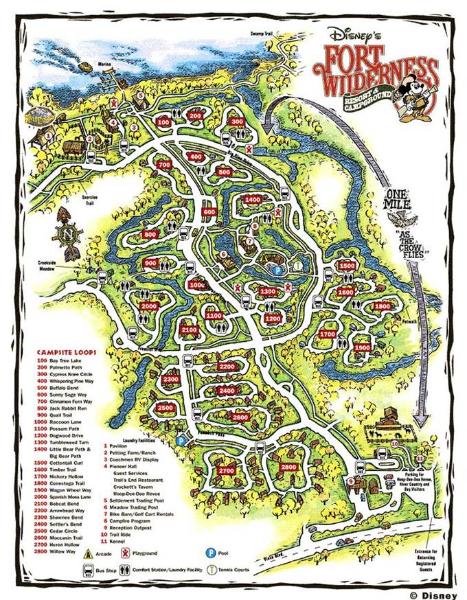 Map of Disney's Fort Wilderness Resort