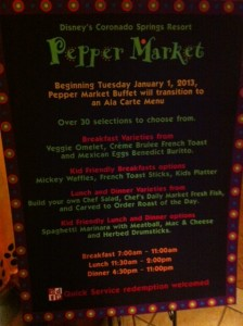 Pepper Market Menu at Disney's Coronado Springs Resort