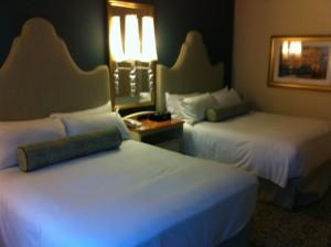 Bed Side from Window at Loews Portofino Bay Resort at Universal Orlando