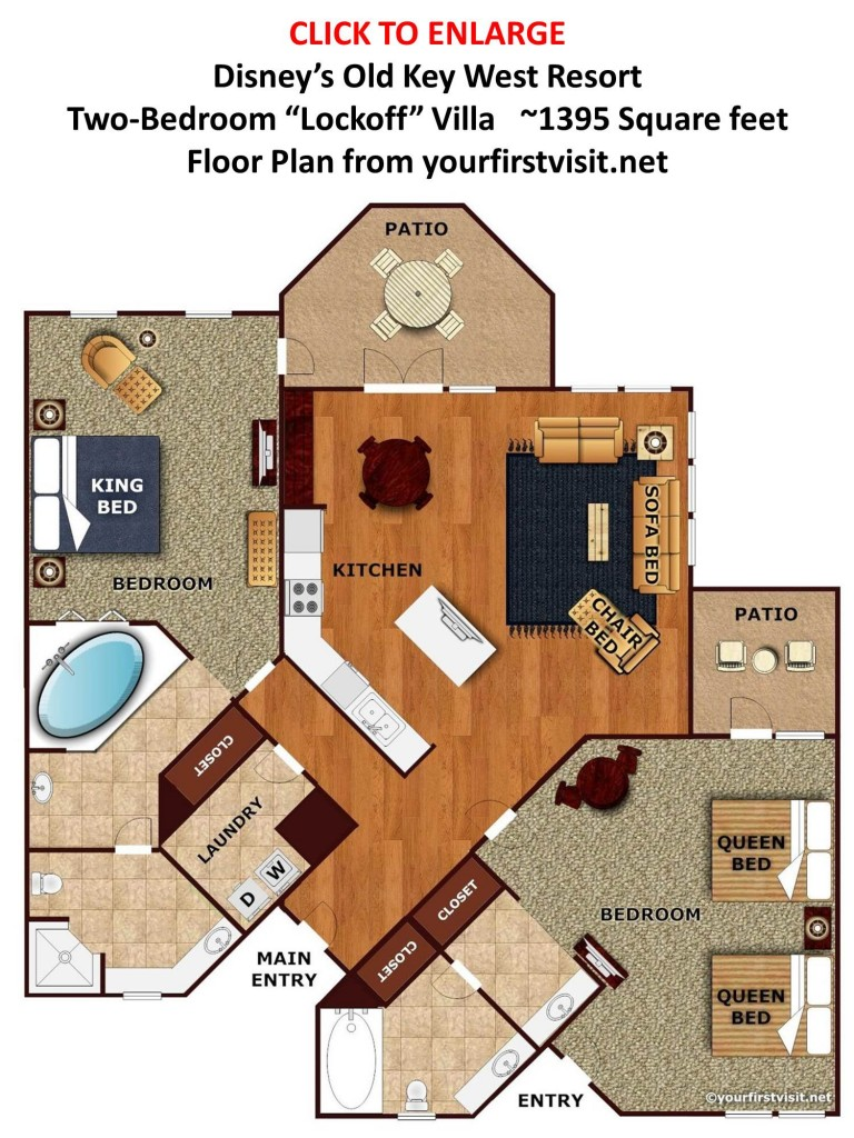 Review disney 39 s old key west resort the walt disney for 2 bedroom villa floor plans