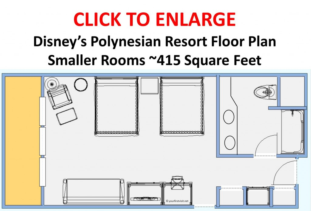 Disney's Polynesian Resort Floor Plan Smaller Rooms