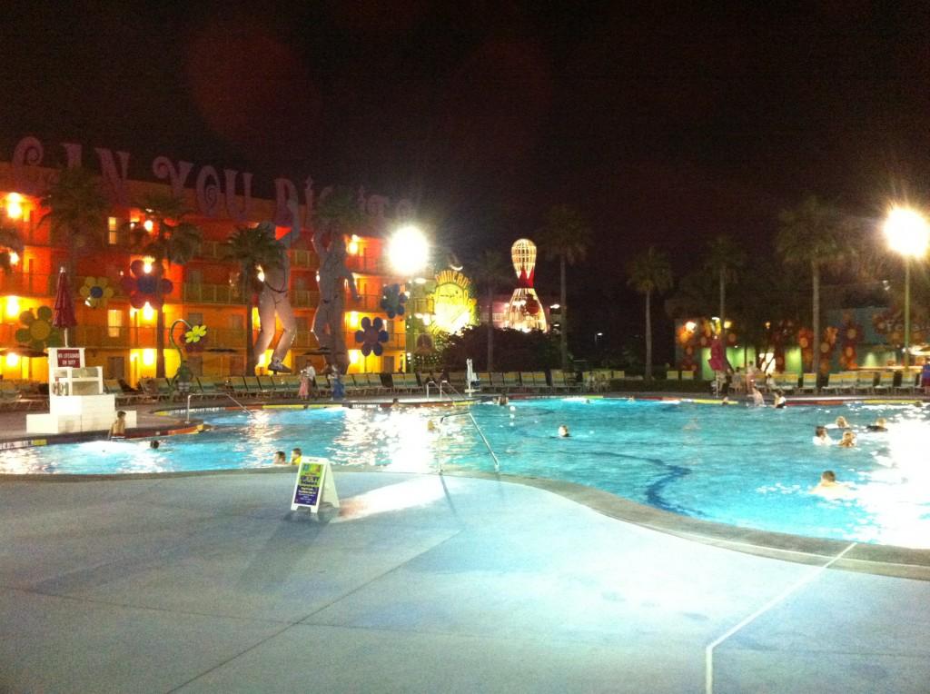 Main Pool at Night at Disney's Pop Century Resort