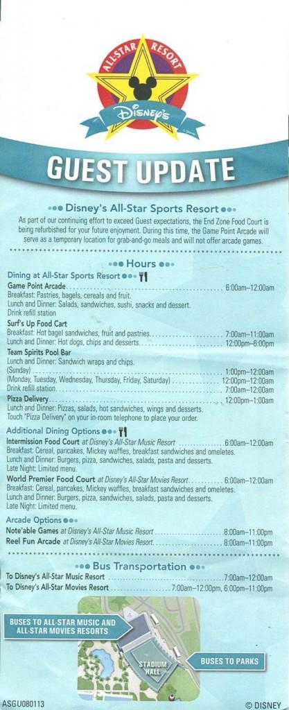 Food Options at Disney's All-Star Sports Resort