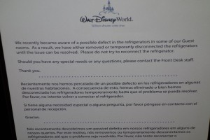 Note on My Fridge at Disney's All-Star Sports Resort