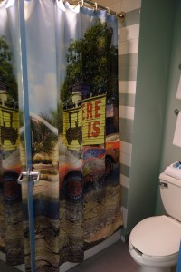 Shower Curtain in Second Bath Cars Family Suite at Disney's Art of Animation Resort--from yourfirstvisit.net