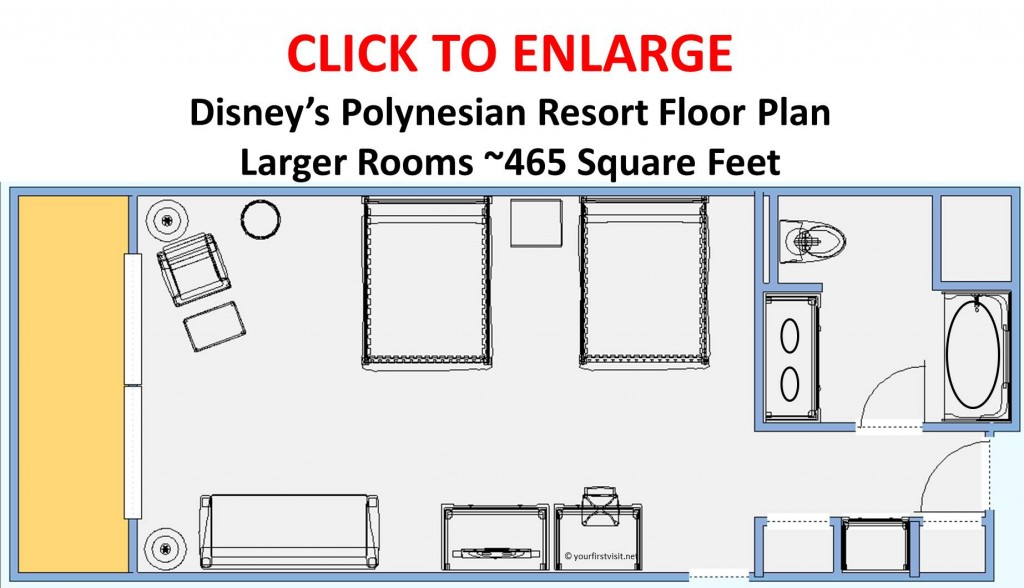 Disney's Polynesian Resort Floor Plan Larger Room from yourfirstvisit.net