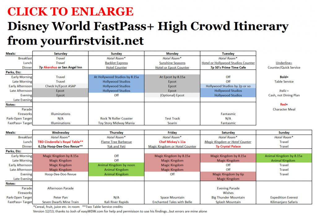 FastPass+ Itinerary for High Crowd Weeks from yourfirstvisit.net v4