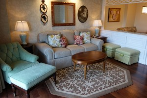 Couch Side of Living Room in One and Two Bedroom Villas at Disney's Grand Floridian Resort & Spa from yourfirstvisit.net