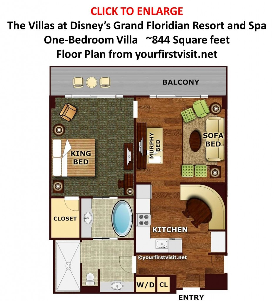 Floor Plan One Bedroom Villa at Disney's Grand Floridian from yourfirstvisit.net