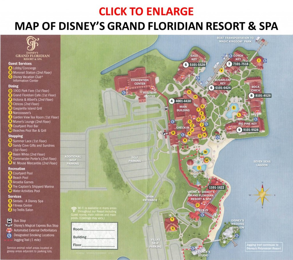 Map of Disney's Grand Floridian Resort from yourfirstvisit.net