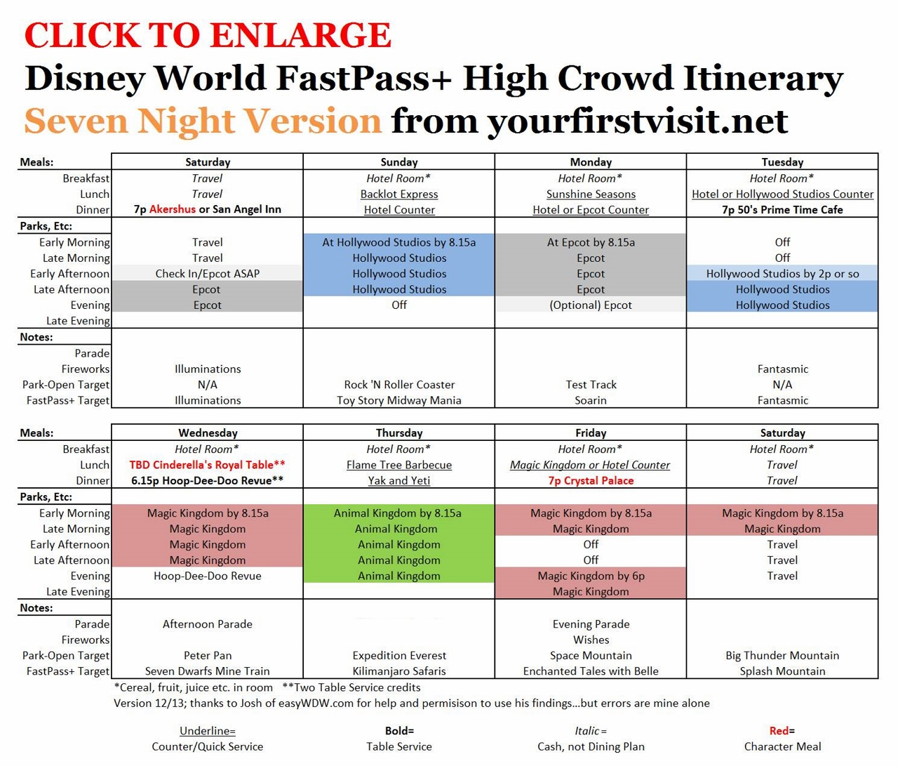 Seven Night FastPass+ Itinerary for High Crowd Weeks from yourfirstvisit.net v4