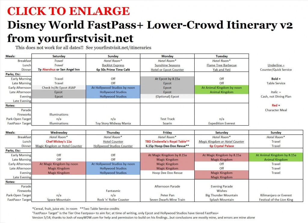 Disney World FastPass+ Lower-Crowd Itinerary from yourfirstvisit.net