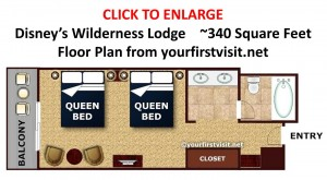 Disney's Wilderness Lodge Standard Room Floor Plan from yourfirstvisit.net