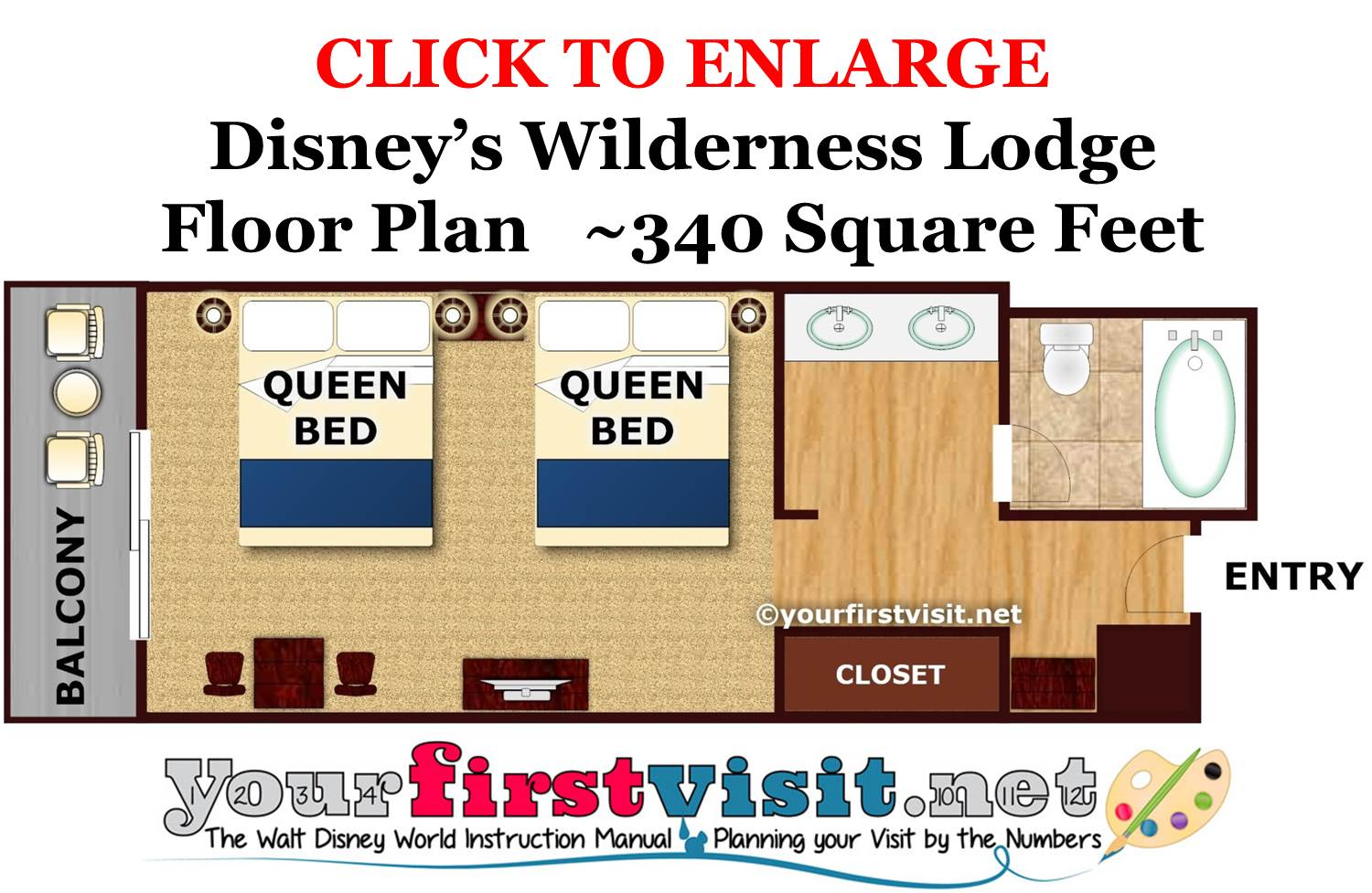 Floor Plan Disney's Wilderness Lodge from yourfirstvisit.net