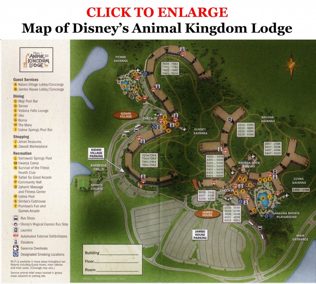 Map of Disney's Animal Kingdom Lodge from yourfirstvisit.net