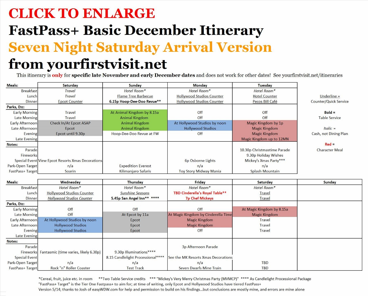 Disney World Seven Night Saturday Arrival Variant of Basic December Itinerary from yourfirtsvisit.net