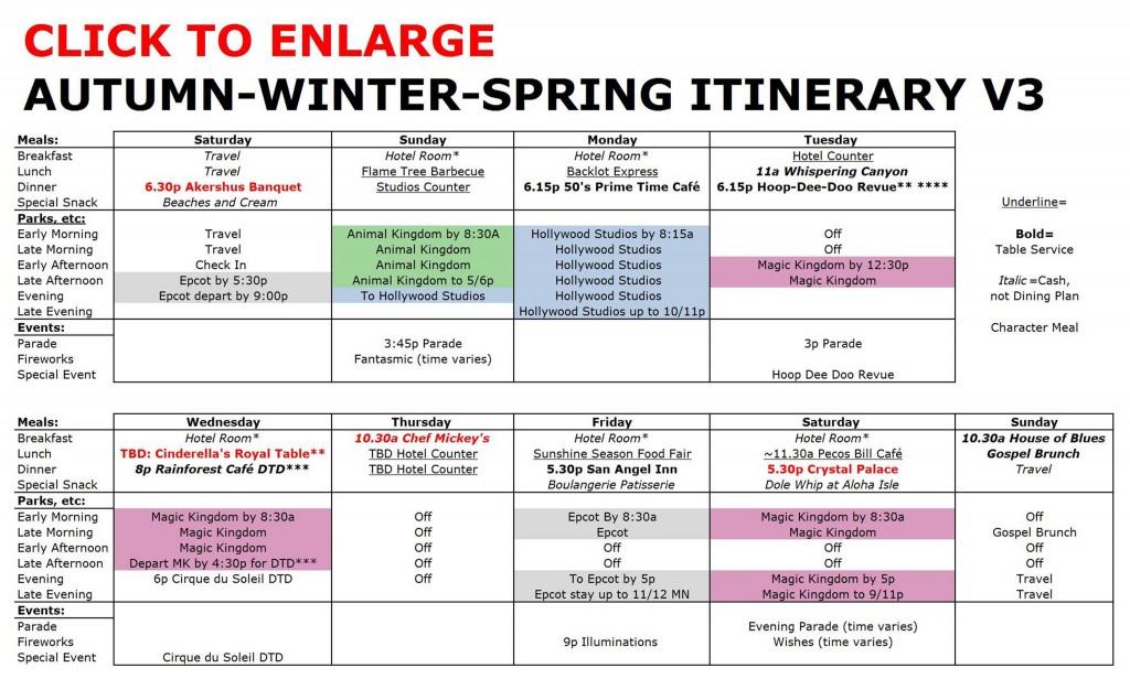 Disney World Autumn-Winter-Spring Itinerary