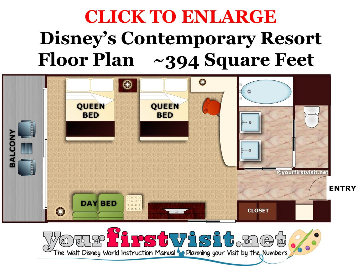 Floor Plan Disney's Contemporary Resort from yourfirstvisit.net
