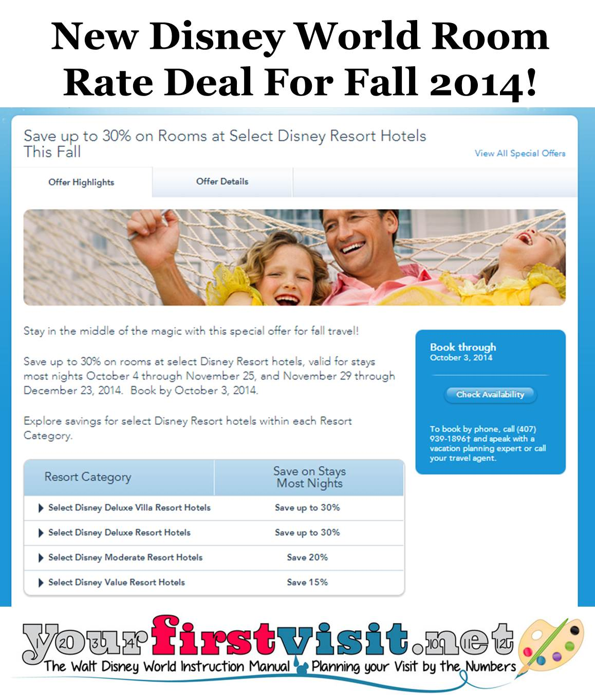 New Disney World Room Rate Deal for Fall 2014 from yourfirstvisit.net