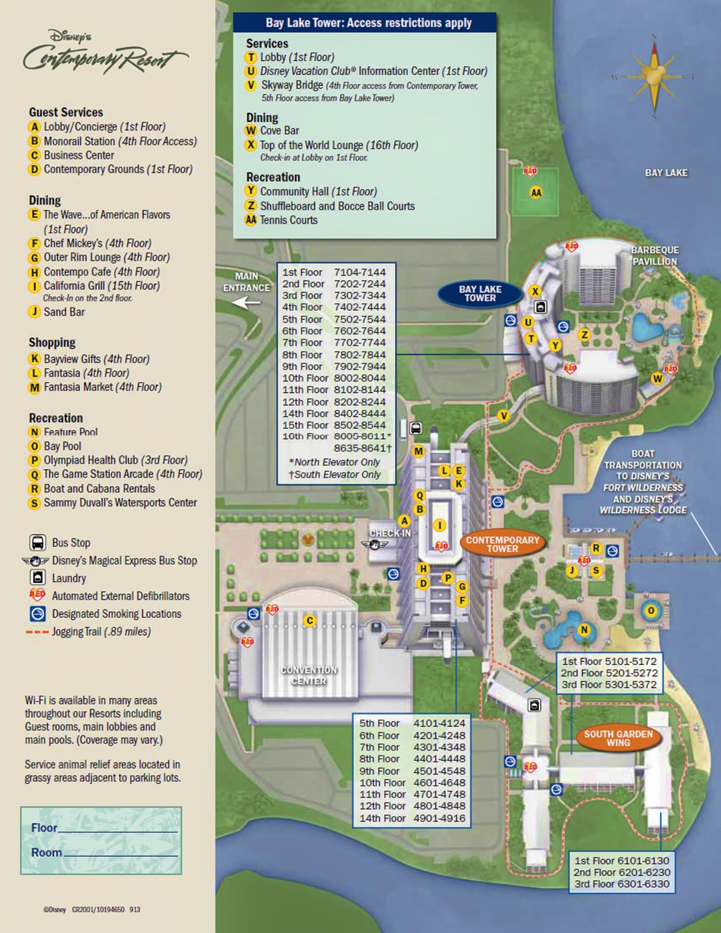 Map Bay Lake Tower and Contemporary Resort