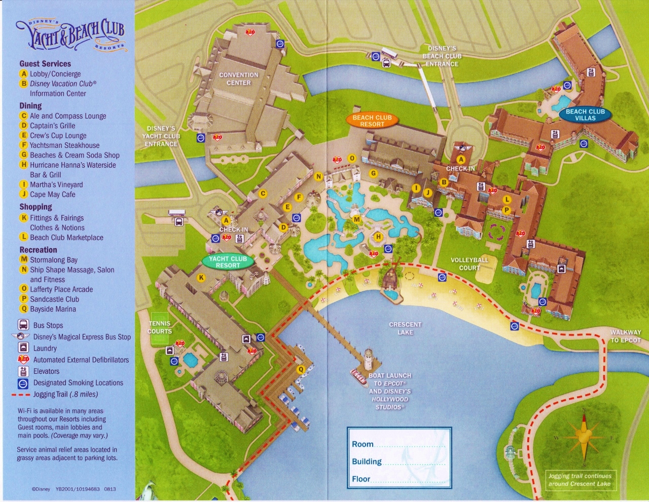 Map Disney's Yacht and Beach Club Resorts and Beach Club Villas