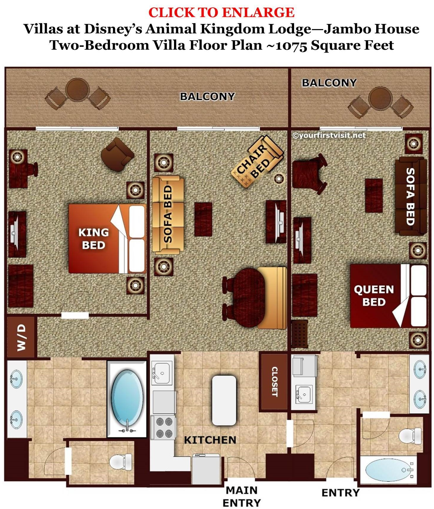 Review disney 39 s animal kingdom villas jambo house page 4 for Animal kingdom 2 bedroom villa floor plan