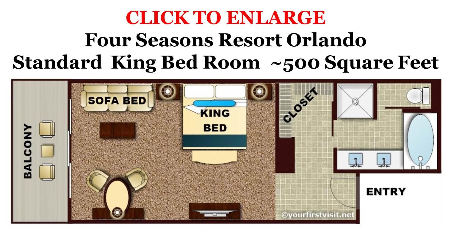Four Seasons Resort Orlando Standard King Bed Room Floor Plan from yourfirstvisit.net