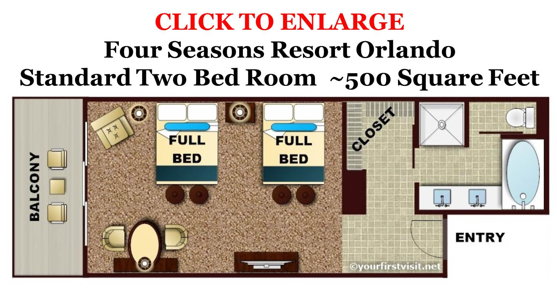 Four Seasons Resort Orlando Standard Two Bed Room Floor Plan from yourfirstvisit.net