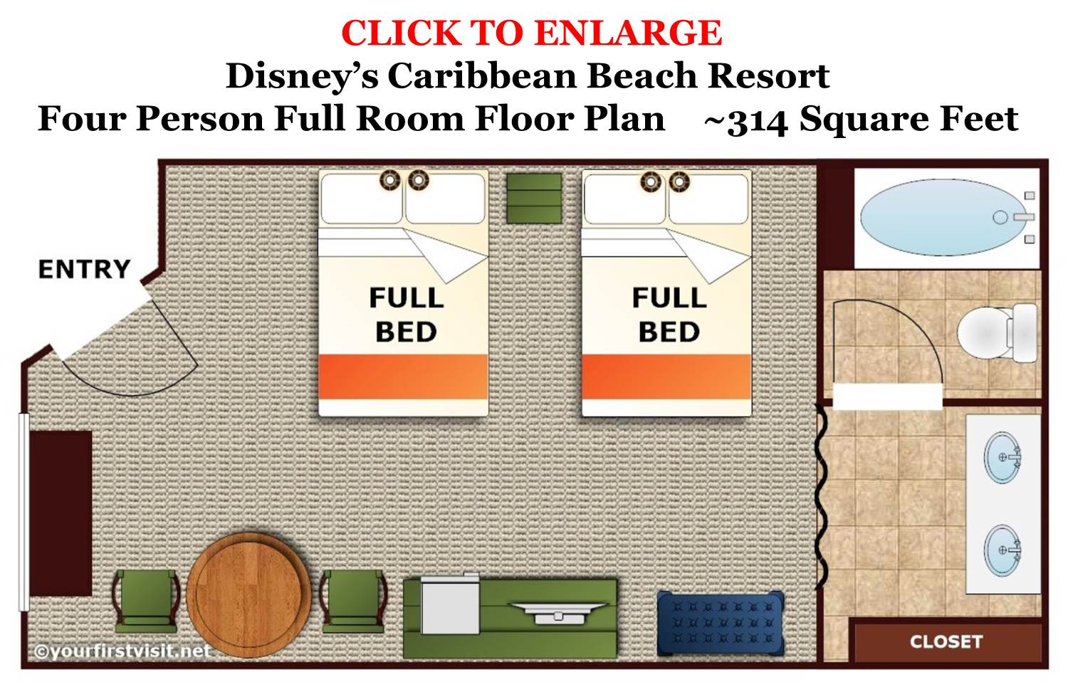 Four Person Full Room Floor Plan Disney's Caribbean Beach Resort from yourfirstvisit.net