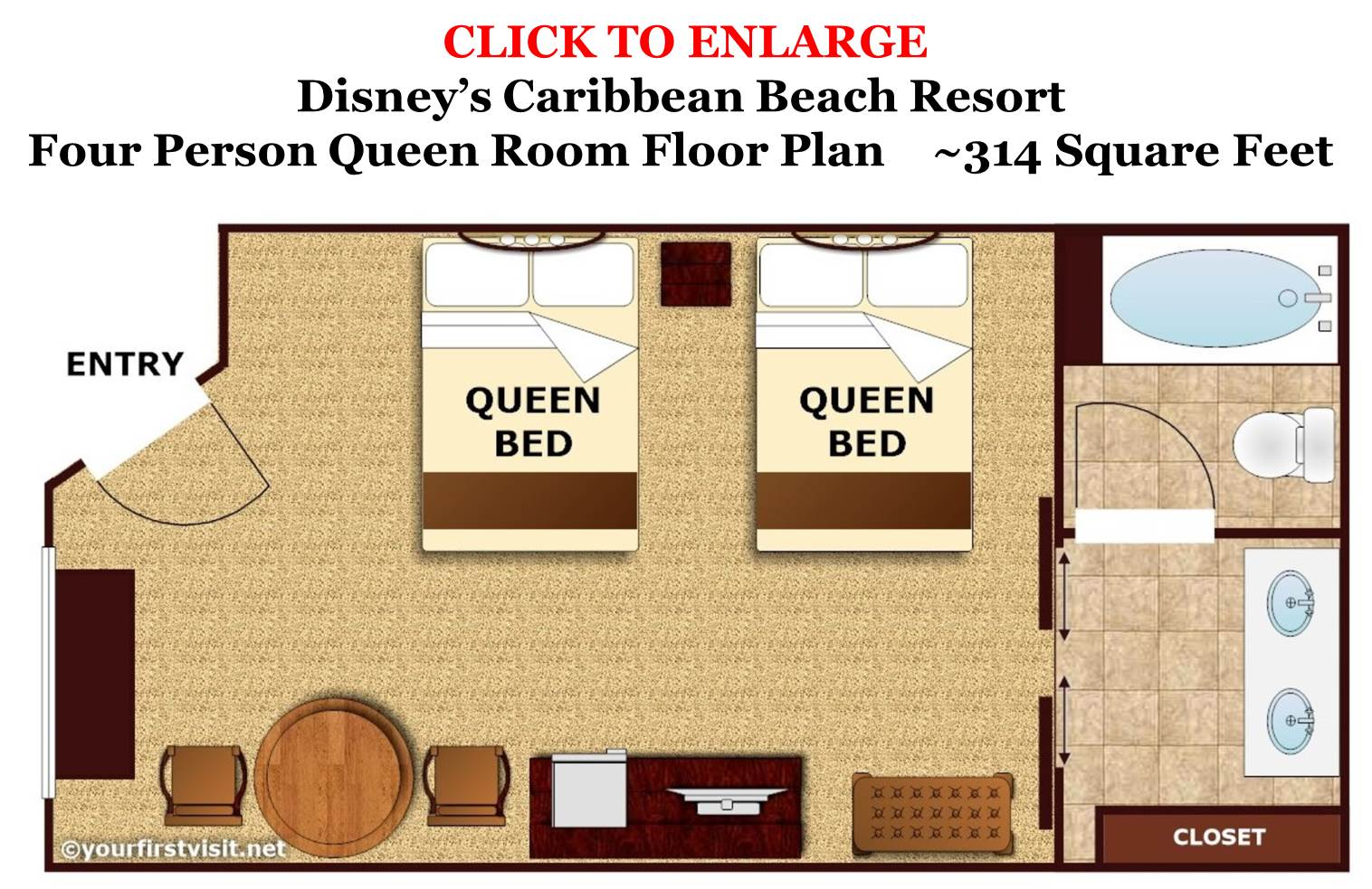 Four Person Queen Room Floor Plan Disney's Caribbean Beach Resort from yourfirstvisit.net