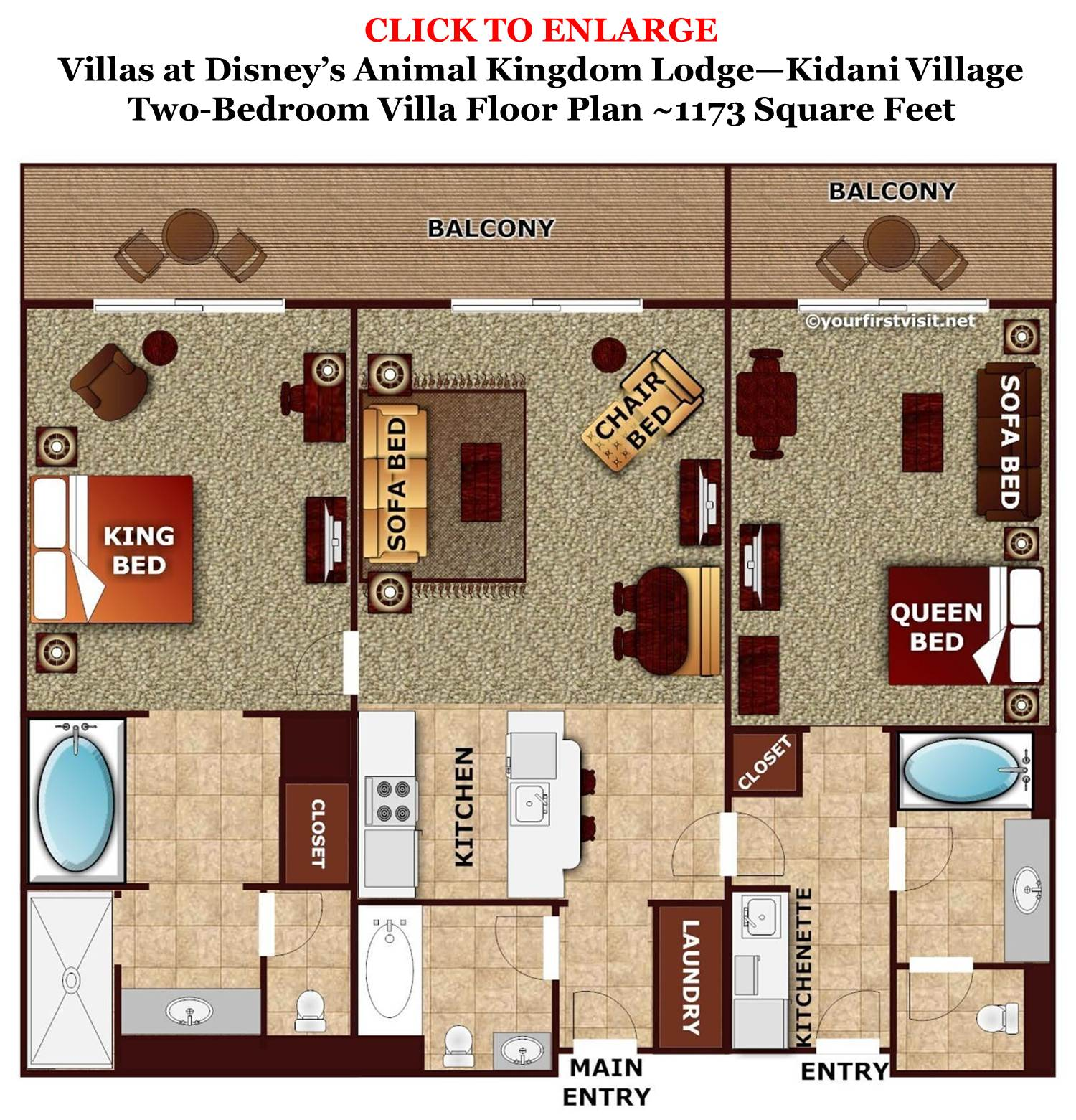 Kidani Village 2 Bedroom Villa Floor Plan Large Family Deluxe Options At Walt Disney World