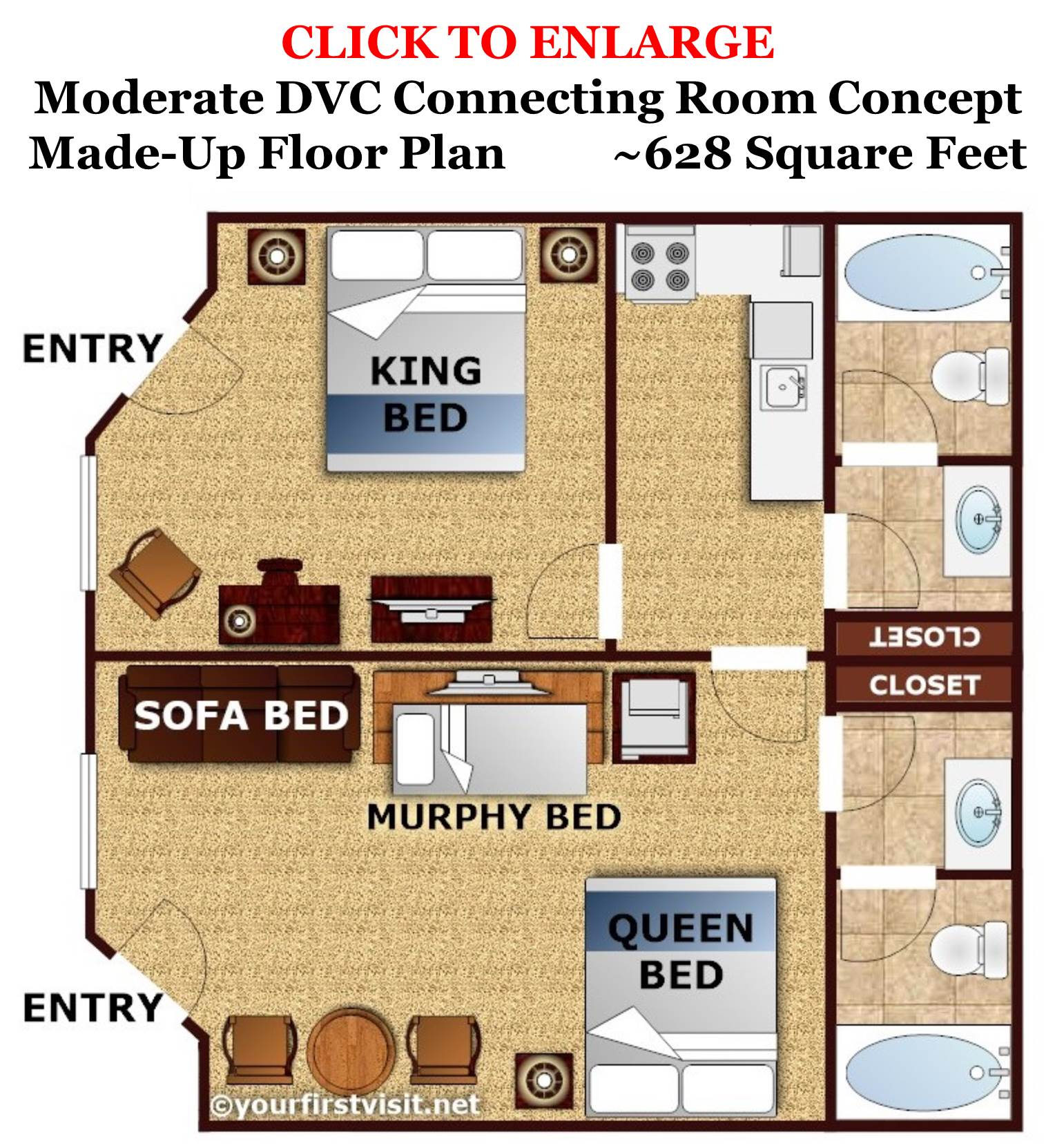 Made Up Concept Floor Plan for DVC at Caribbean Beach from yourfirstvisit.net