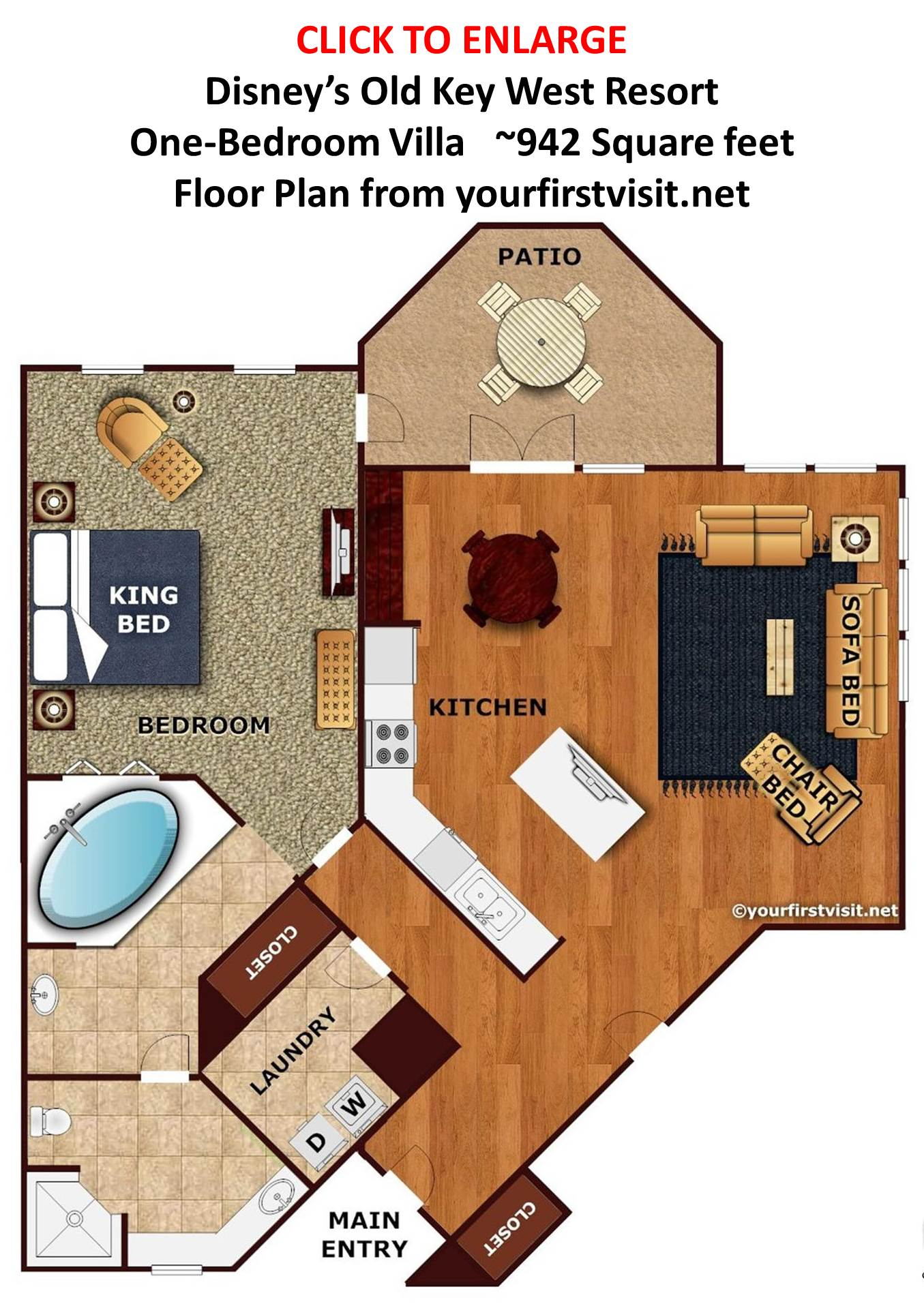 One Bedroom Villa Floor Plan Disney's Old Key West Resort from yourfirstvisit.net