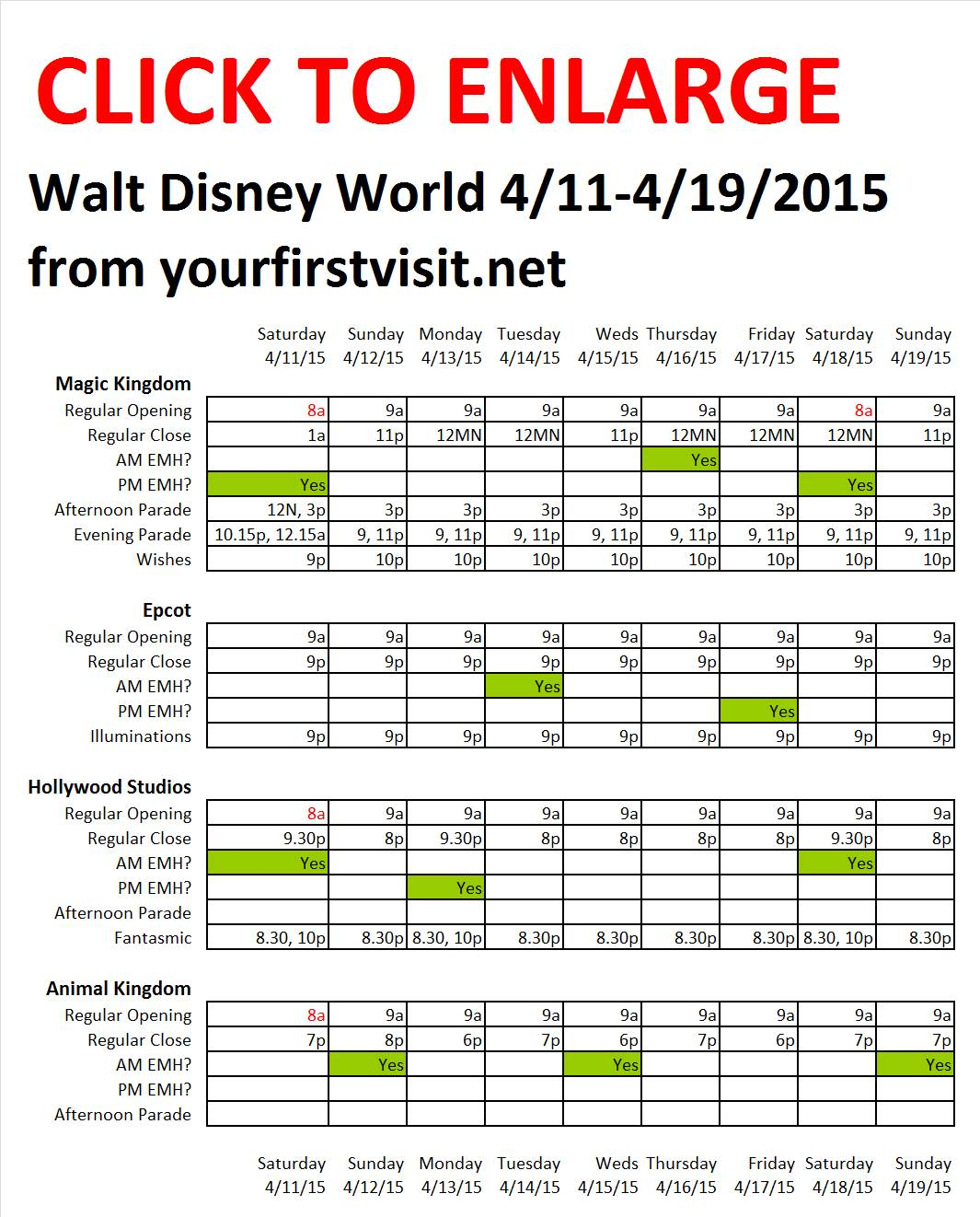 Disney World 4-11 to 4-19-2015 from yourfirstvisit.net