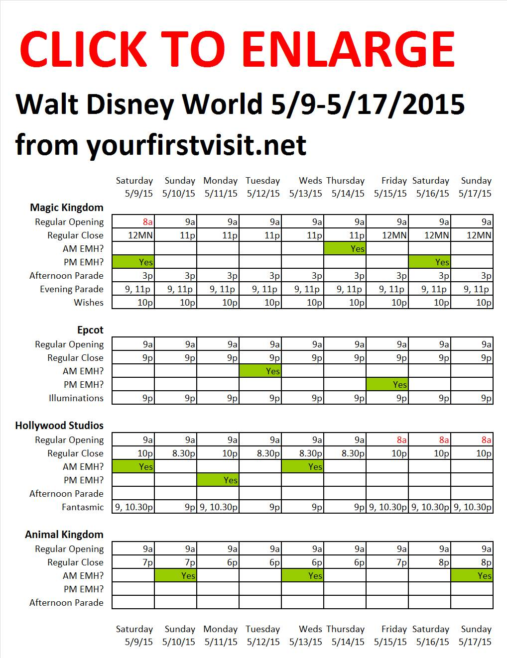 Disney World 5-9 to 5-17-2015 from yourfirstvisit.net